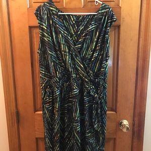 Nic+Zoe faux wrap mid length knit dress